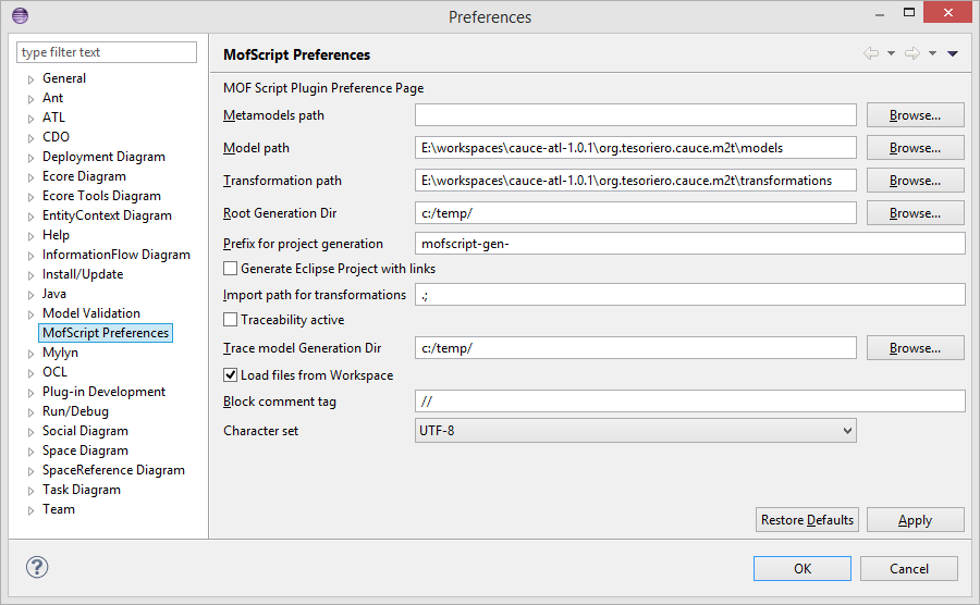 MOFScript preferences